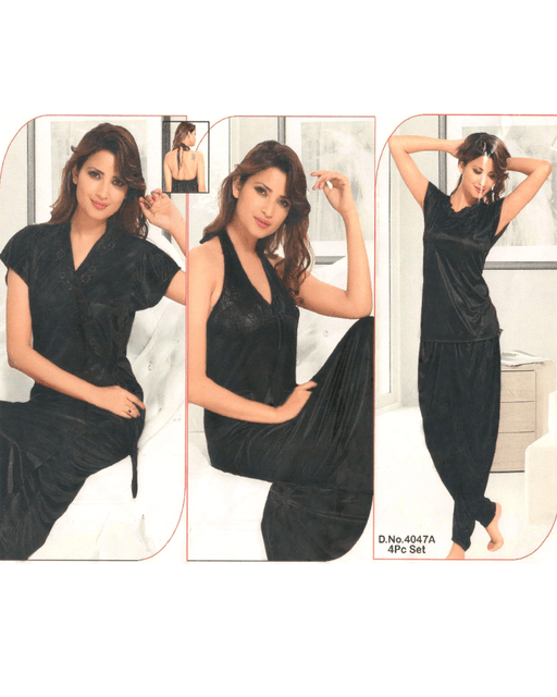 4 Piece Black Silk Bridal Nighty - 4047A - Hiffey