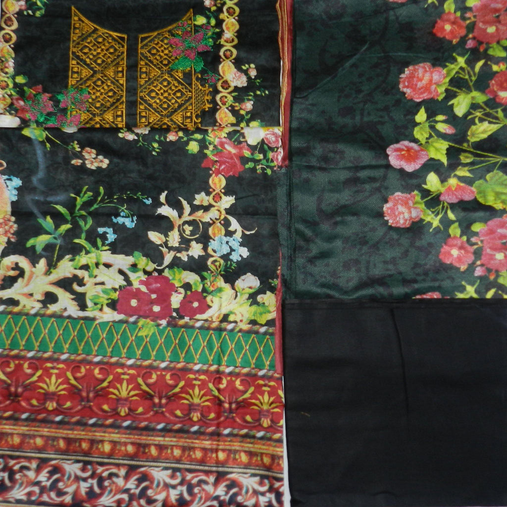 Black Color Lawn Printed 3 Pcs Suits Design : SL23