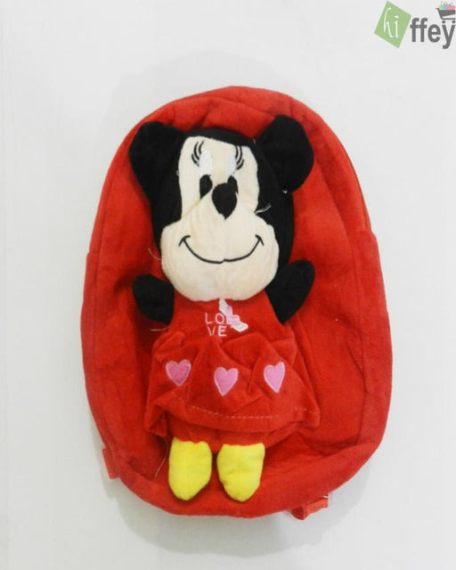 Mickey Mouse Velvet School Bag for Kids - Hiffey