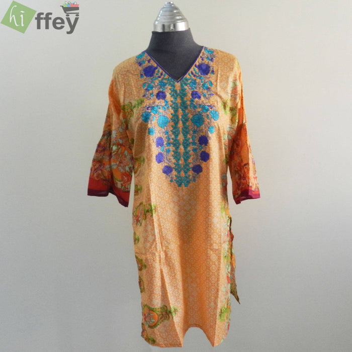 Elegant Sea Green Embroidered Printed Lawn Orange Color Kurti - Hiffey