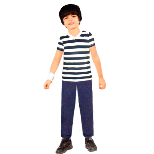 Blue & White Stripped T-Shirt & Trouser for Boys - Hiffey