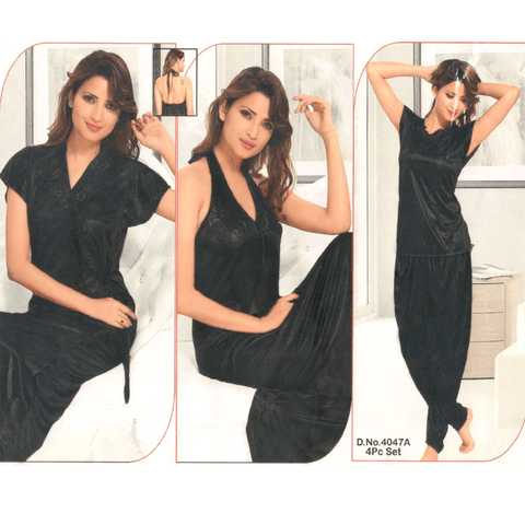 4 Piece Black Silk Bridal Nighty - 4047A
