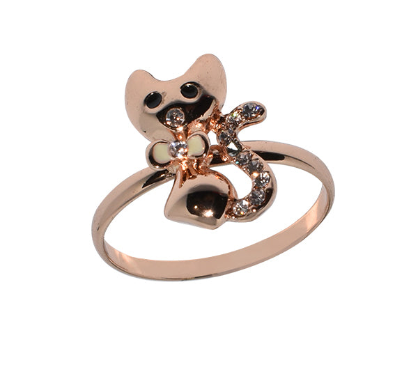 Cat Head With Black Eyes Ring For Girls - Golden - Hiffey