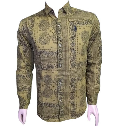 Brown Printed Long Sleeves Casual Shirt - Hiffey