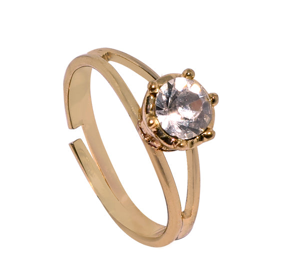 Crystal Center One Stone Ring For Girls - Golden - Hiffey
