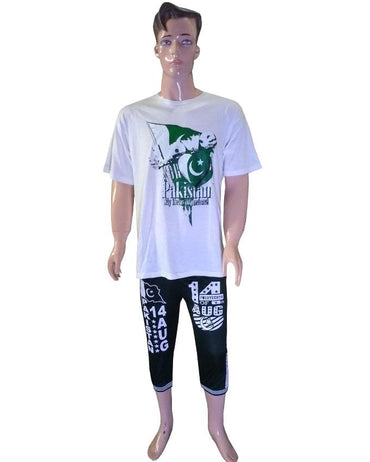 Independence Day T-Shirt with Flag and Printed Trouser