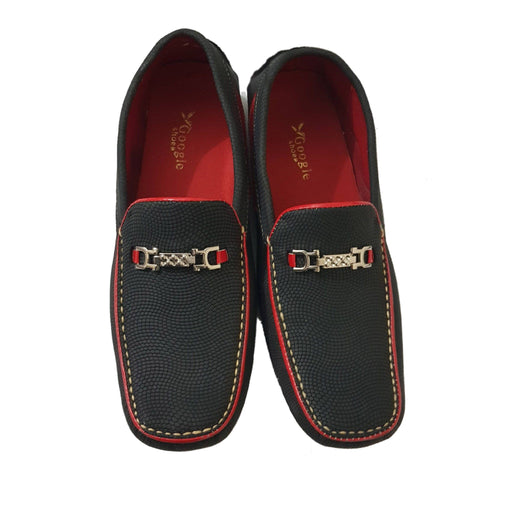 Black Red Synthetic Leather Loafers For Men's