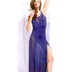 Navy Blue Long Gown V-Shaped Nighty - 1673