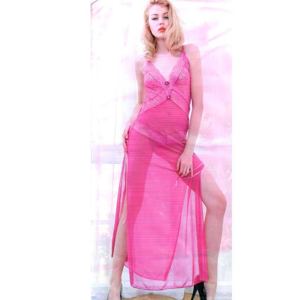 Bridal Night long Maroon Nighty for Women - Pink