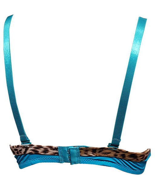 Padded Bra Wired Special spot leopard print-Sea Blue - Hiffey