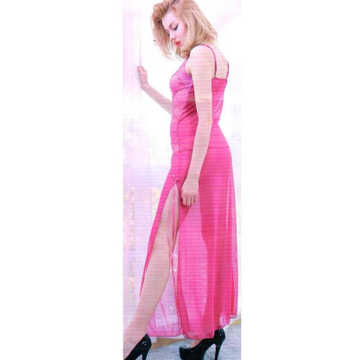 Bridal Night long Maroon Nighty for Women - Pink - Hiffey