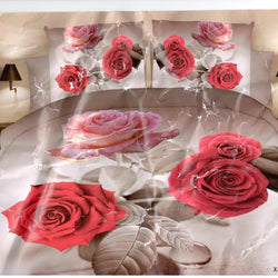 3D Pink Flower 3 Piece King Double Bed Sheet Set