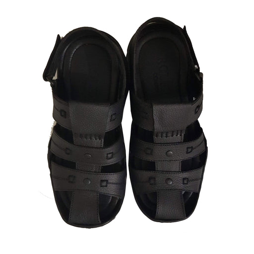 Black Leather wide Toe Style Men's Sandal - Hiffey