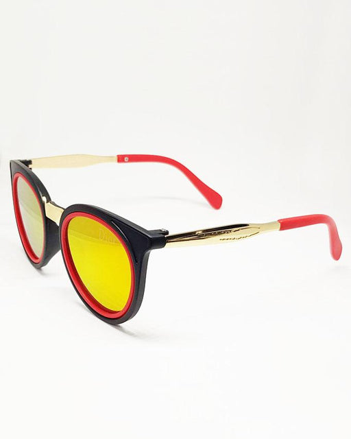 Dior Round Black with Red Round Strip Sunglasses for Kids - Hiffey