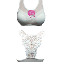 Flower Back Crop Padded Bra - White