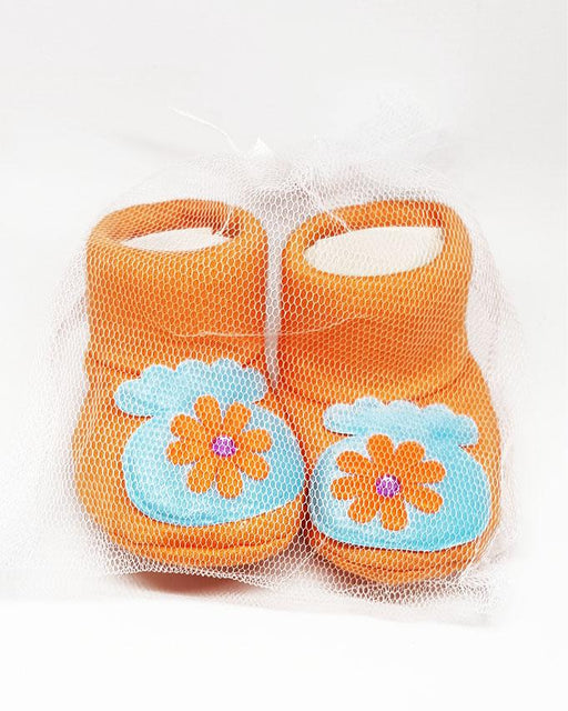Newborn Baby Orange Flower Cotton Shoes - Hiffey