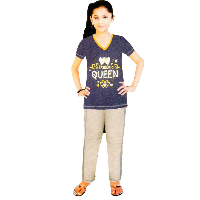 Fashion Queen T-Shirt & Trouser for Girls - Hiffey