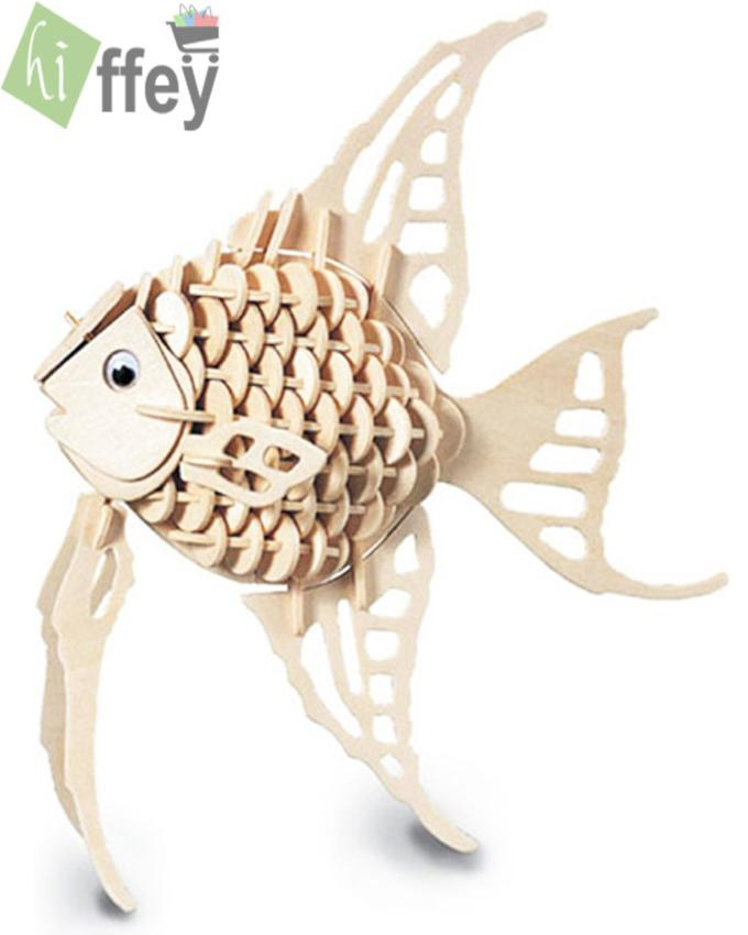 3D Puzzle Toy - Angel Fish Woodcraft Construction