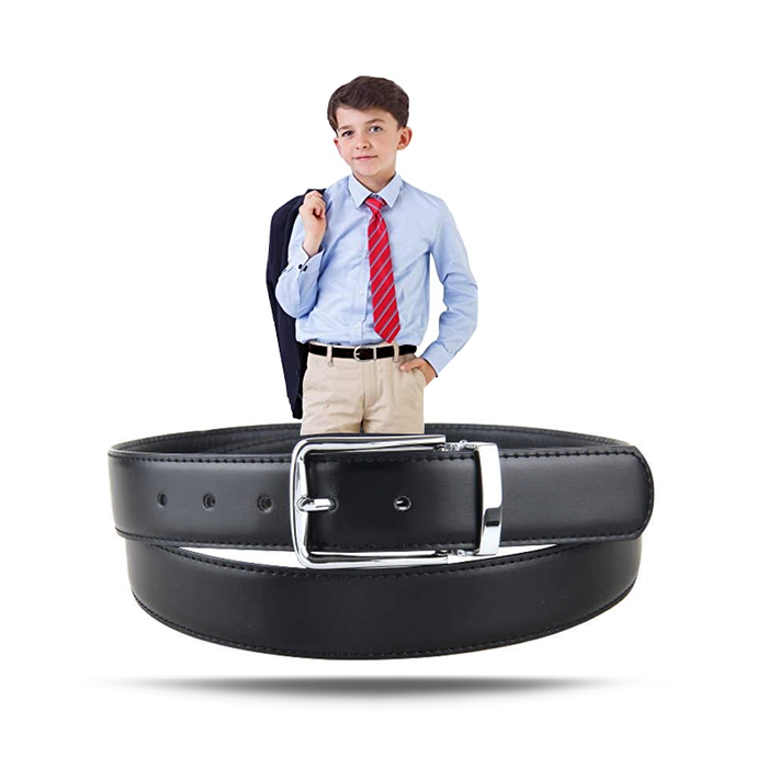 Kids Casual Leather Belt - Black