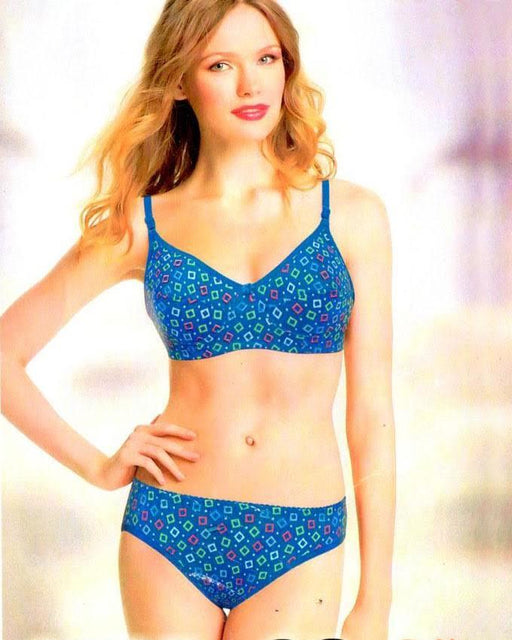 Bra Panty Set - Soft Cotton Printed - 1007 - Hiffey