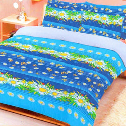 Daisy Flower Printed Bed Line 3 Piece King Double Bed Sheet Set