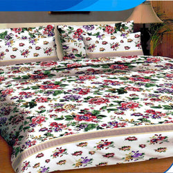 Multi Rose Printed Bed Line 3 Piece King Double Bed Sheet Set