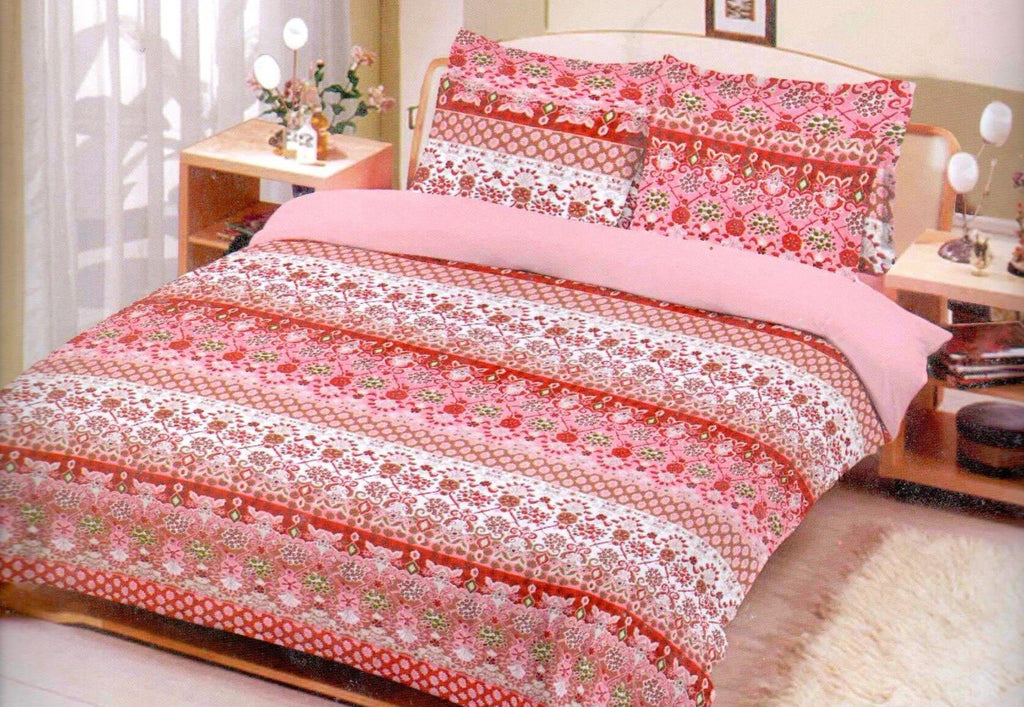 Rose Pink Printed Bed Line 3 Piece King Double Bed Sheet Set