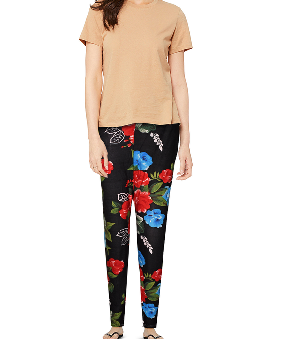 Ladies Flower Printed Tights - Black