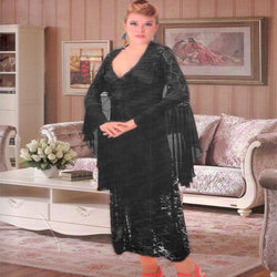 Black Silk Long Nighty with Net Gown and Thong - 3 Piece