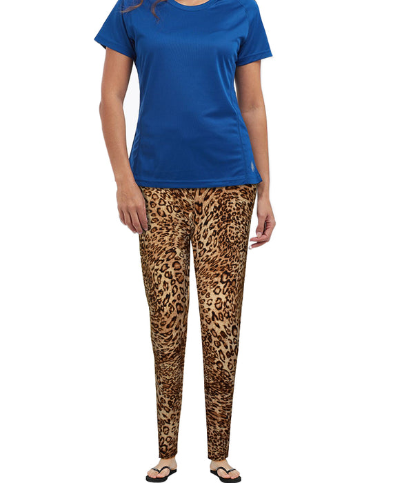 Soft Jersey Brown Leopard Pattern Tights For Girls