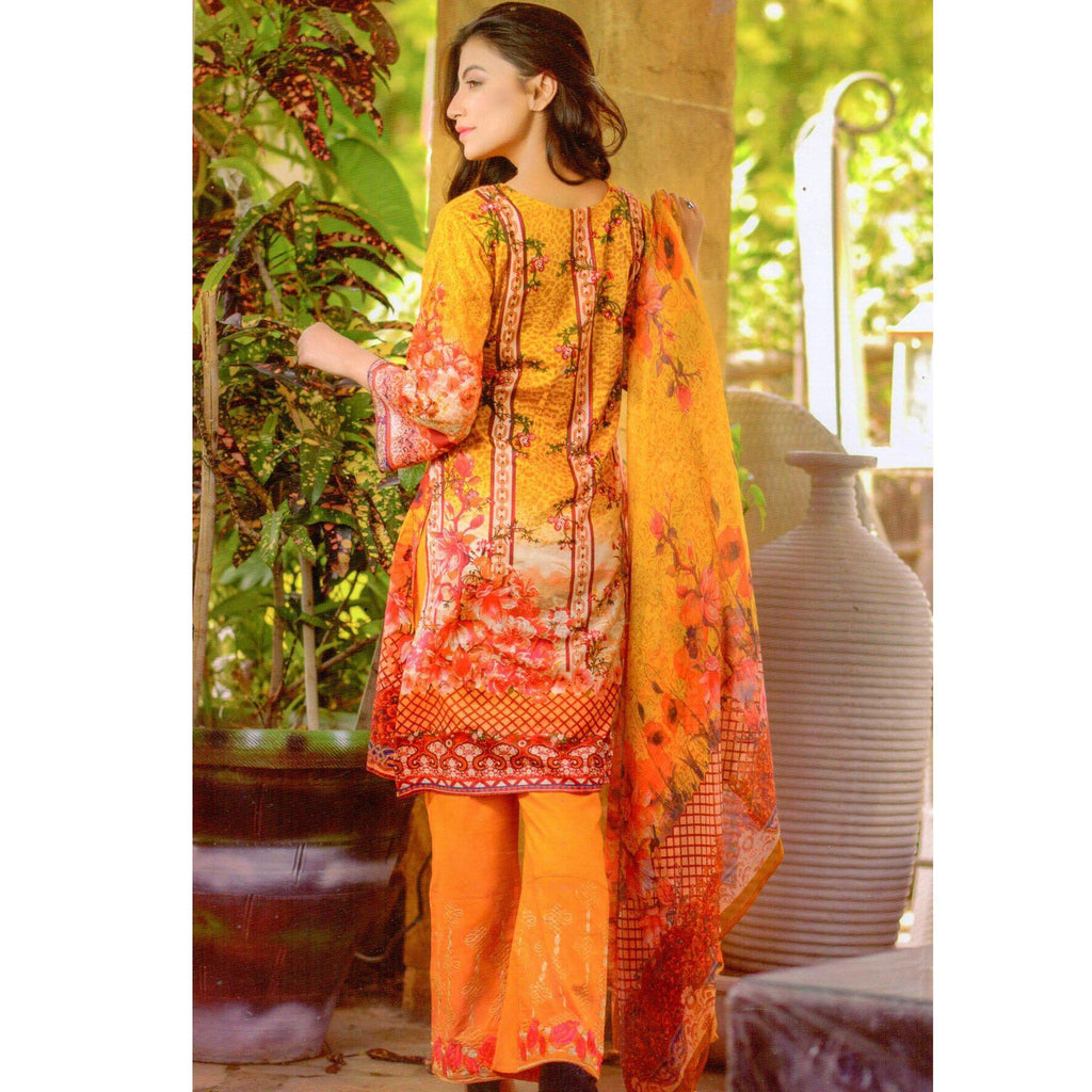 Premium Embroidered Lawn with Chiffon Dupatta - 03B