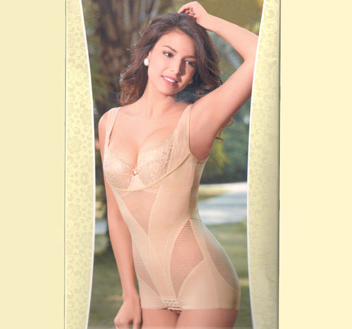 Breathable Seamless Lacey Body Shaper - Cream - Hiffey