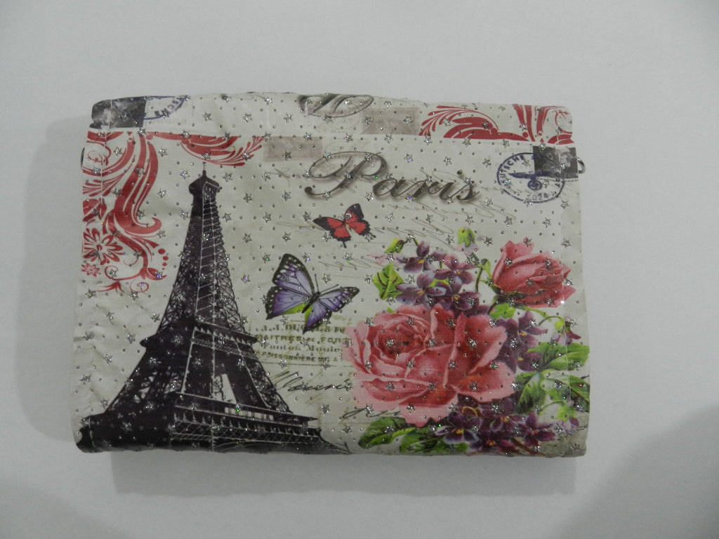 Off White Paris Printed Stylish Hand Clutch For Girl