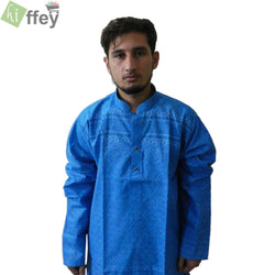 Stylish NavyBlue Printed Kurta For Men - Hiffey