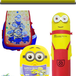 Deals In Product Pack Of 3 - Minions Bags | Minions Bottle | Minions Lunch Box