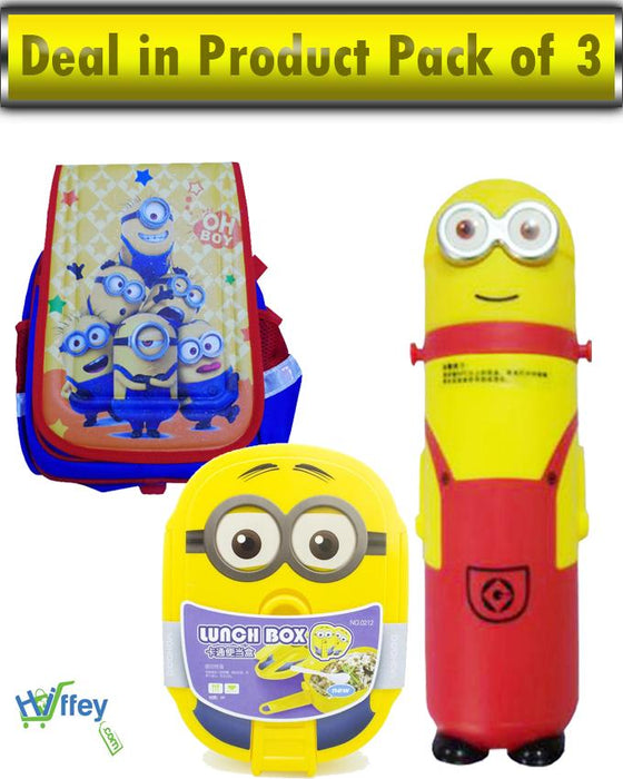 Deals In Product Pack Of 3 - Minions Bags | Minions Bottle | Minions Lunch Box - Hiffey