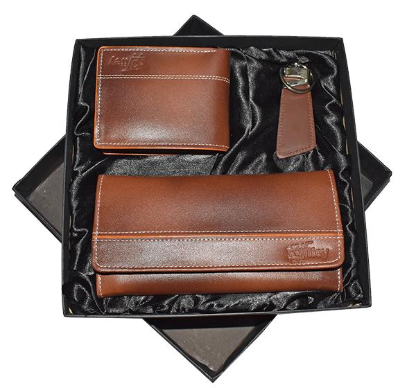 Original Cow Leather Clutch, Purse & Key Chain Gift Set - Brown - Hiffey