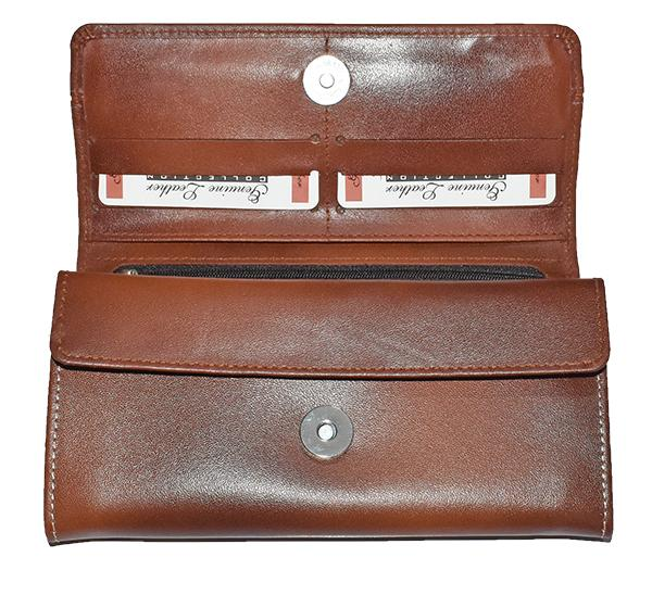 Original Cow Leather Clutch for Ladies - Brown - Hiffey