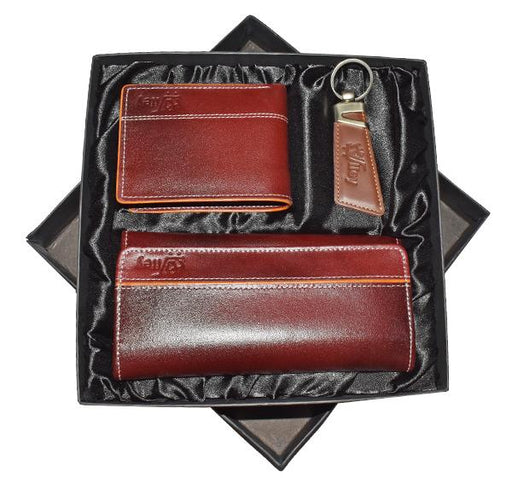 Original Cow Leather Clutch, Purse & Key Chain Gift Set - Maroon - Hiffey