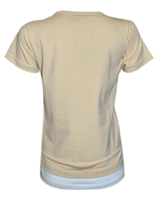 Cream Colour Color T- Shirt For Kids - Hiffey