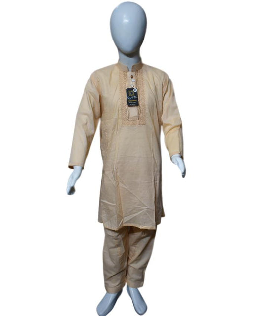 Cream Orange kids Kurta and Shalwar - Hiffey