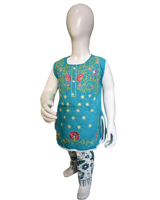 Embroidered Sleeveless kids Green Color For Baby Girl - Hiffey