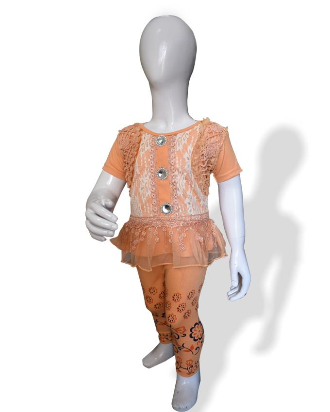 Fancy Embroidered Frock Peach Color For Baby Girl