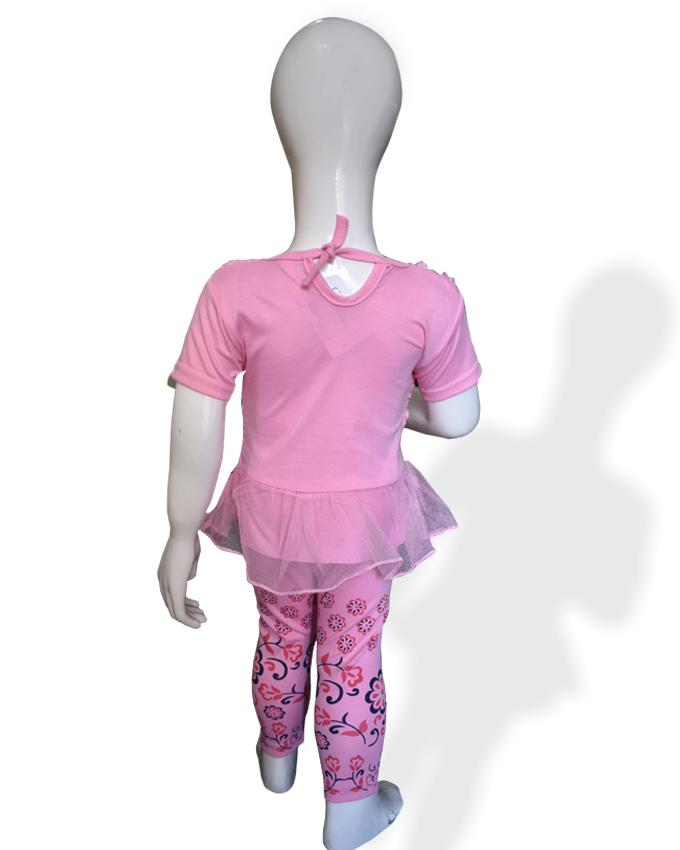 Fancy Embroidered Frock Pink Color For Baby Girl