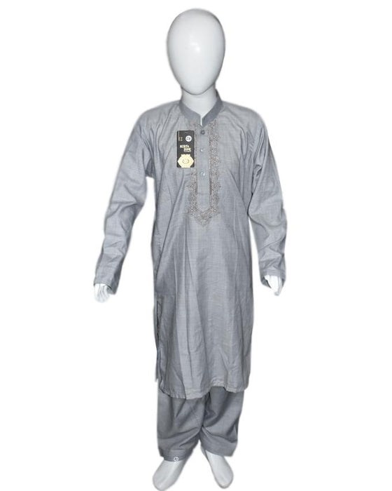 Gray Embroidery kids Kurta and Shalwar - Hiffey