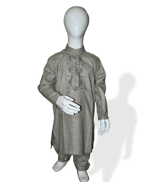 Mindful Gray kids Kurta and Shalwar - Hiffey