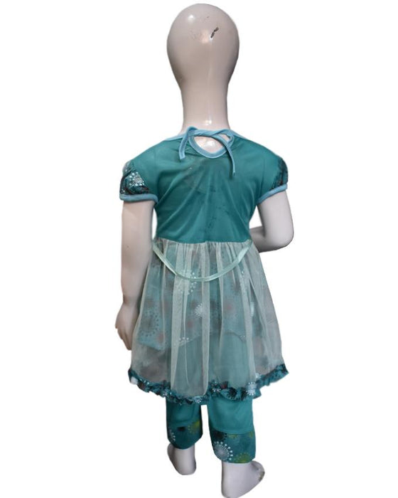 Net Frill Frock Green Color For Baby Girls - Hiffey