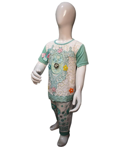 Stylish Chicken Embroidered Green Color Baby Girl T-Shirt & Trouser