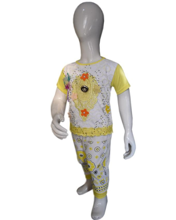 Stylish Chicken Embroidered Yellow Color Baby Girl T-Shirt & Trouser - Hiffey