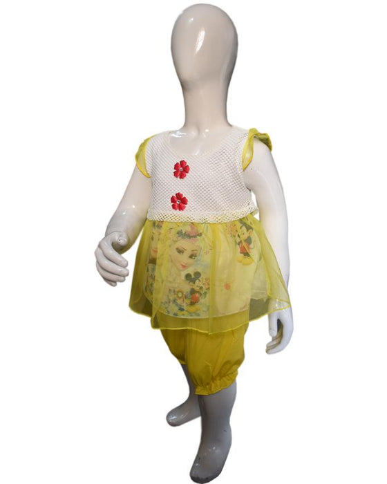 Stylish Frozen Frock Yellow Color For Baby Girl